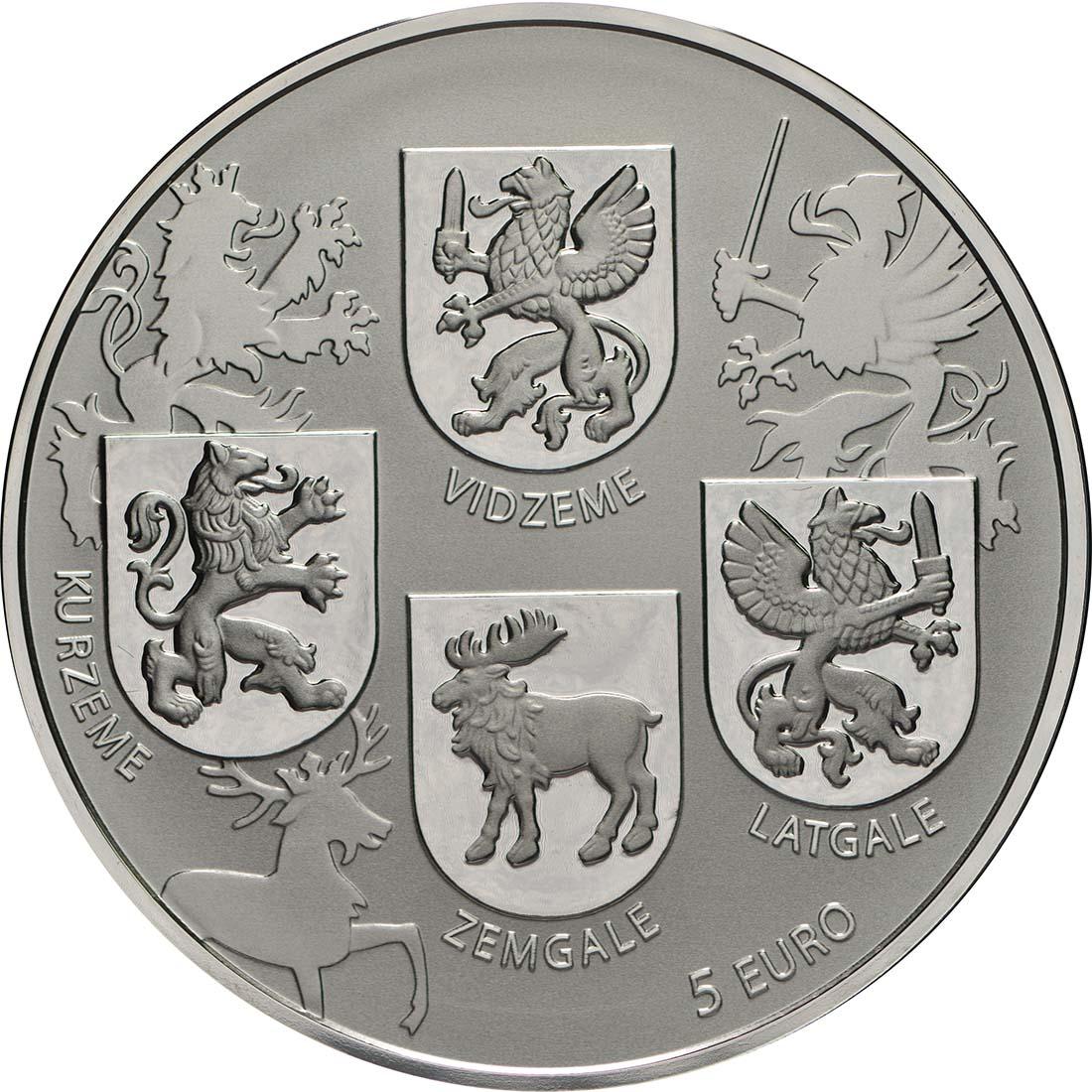 Vorderseite:Lettland : 5 Euro Wappen Lettlands  2018 PP