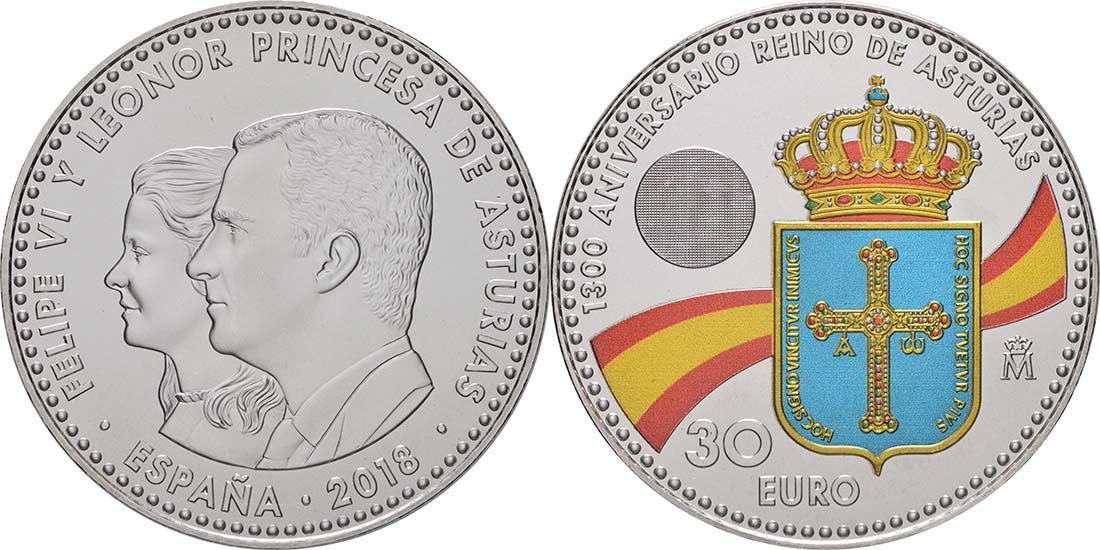 Lieferumfang:Spanien : 30 Euro 1300 Jahre Königreich Asturien - coloriert  2018 bfr