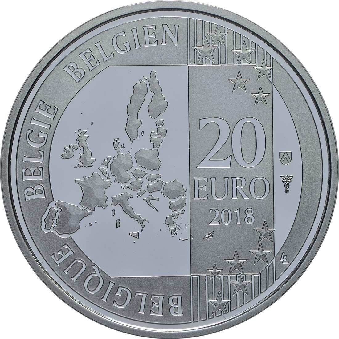 Rückseite:Belgien : 20 Euro ESRO-2B Satellit  2018 PP