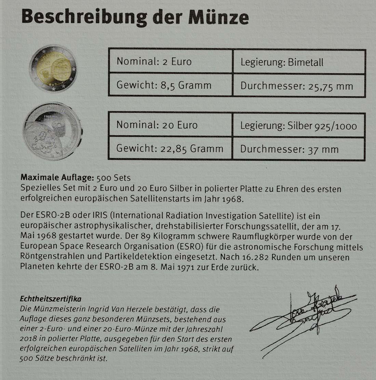 Zertifikat:Belgien : 22 Euro ESRO-2B Satellit - Set aus 20 Euro + 2 Euro   2018 PP