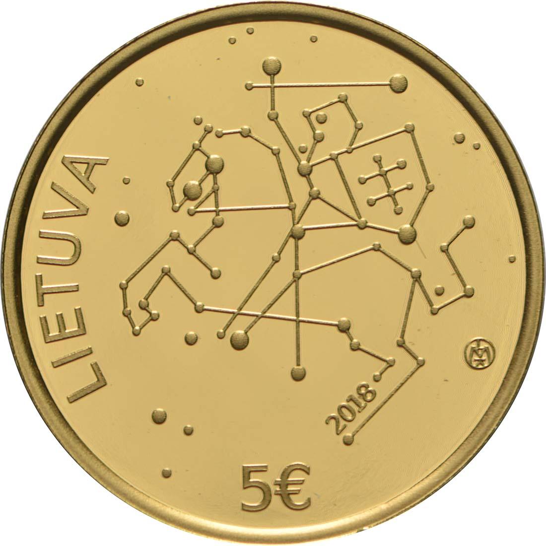 Rückseite:Litauen : 5 Euro Wissenschaft in Litauen - Physik  2018 PP