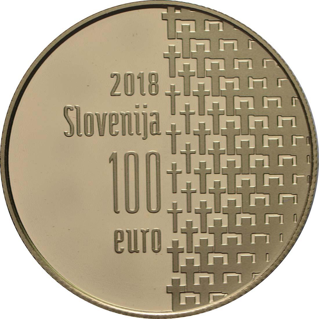 Rückseite:Slowenien : 100 Euro 100 Jahre Ende des 1. Weltkrieges  2018 PP