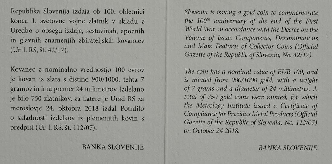 Zertifikat:Slowenien : 100 Euro 100 Jahre Ende des 1. Weltkrieges  2018 PP