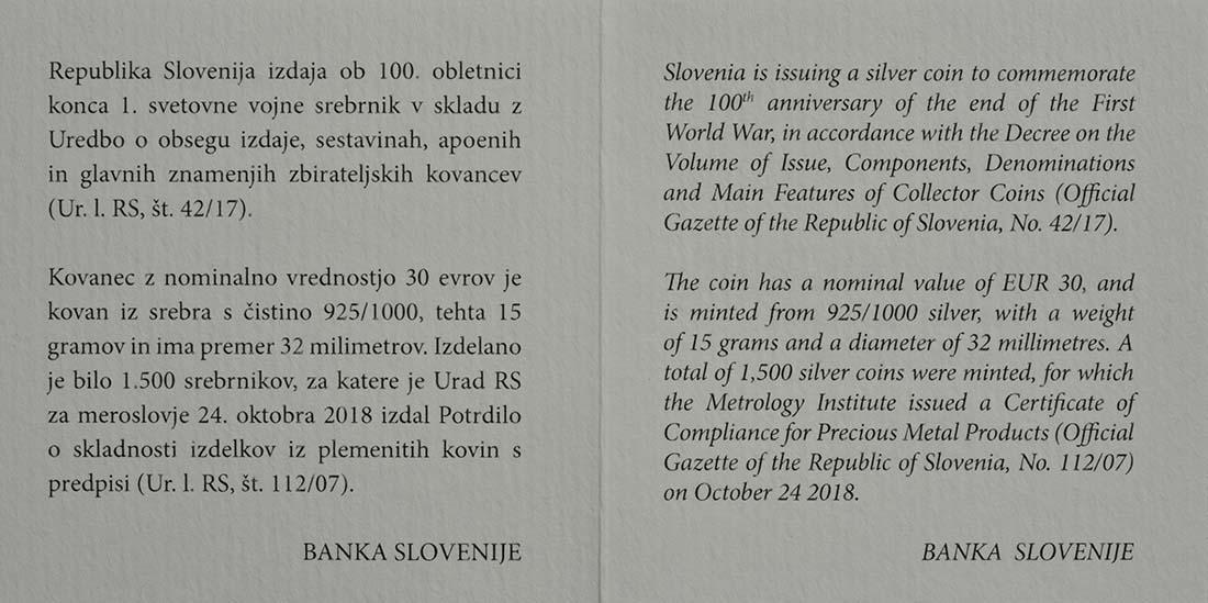 Zertifikat:Slowenien : 30 Euro 100 Jahre Ende des 1. Weltkrieges  2018 PP