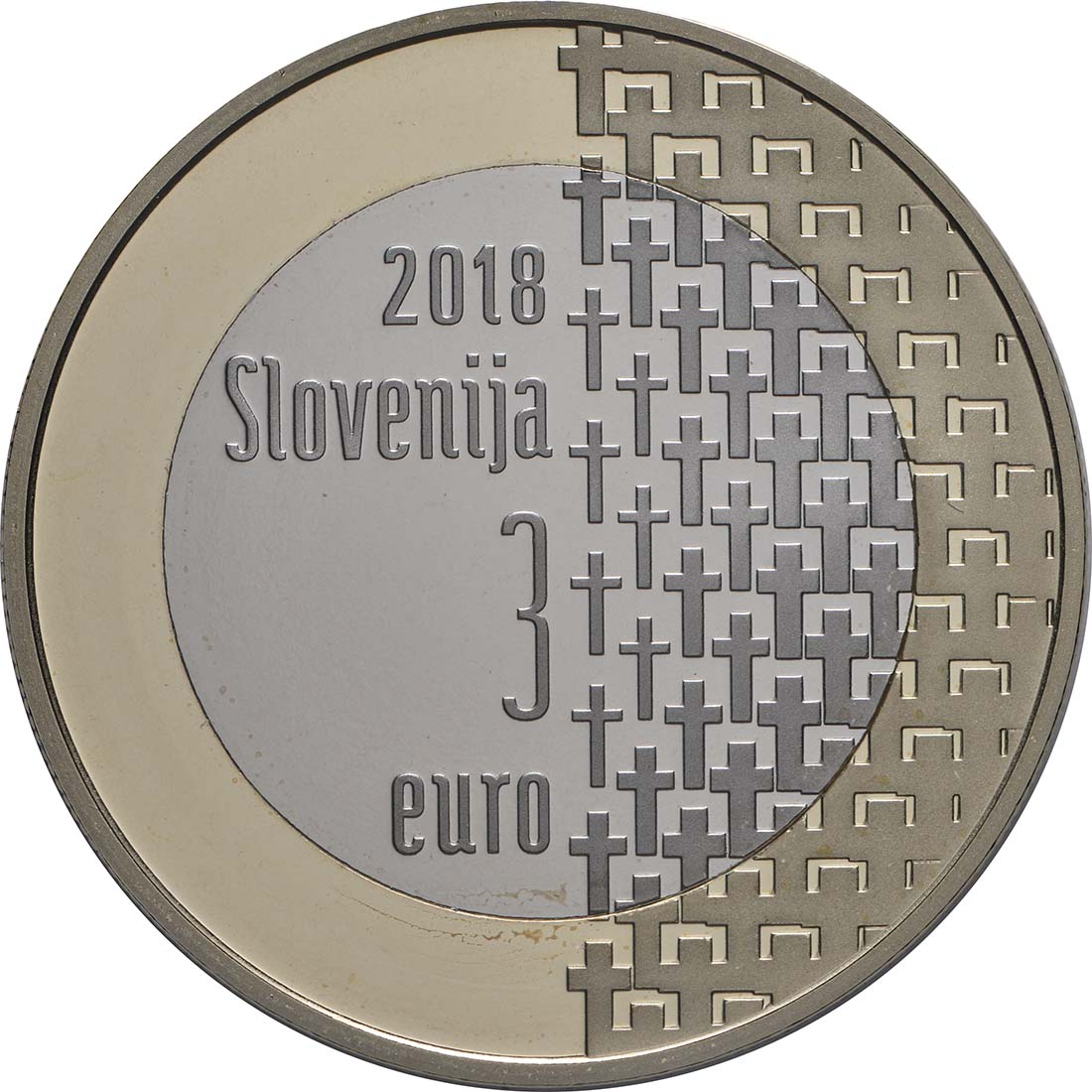 Rückseite:Slowenien : 3 Euro 100 Jahre Ende des 1. Weltkrieges  2018 PP
