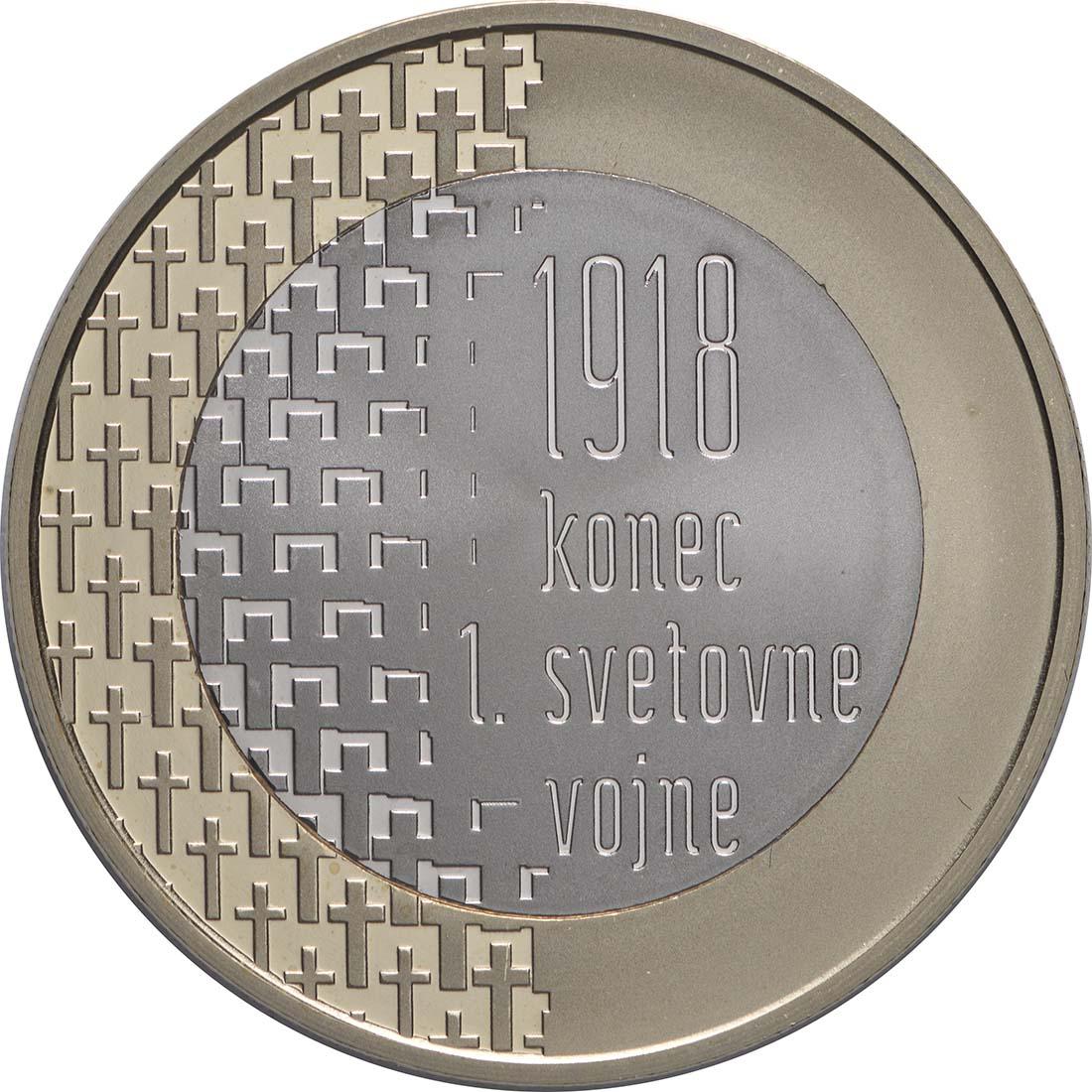 Vorderseite:Slowenien : 3 Euro 100 Jahre Ende des 1. Weltkrieges  2018 PP
