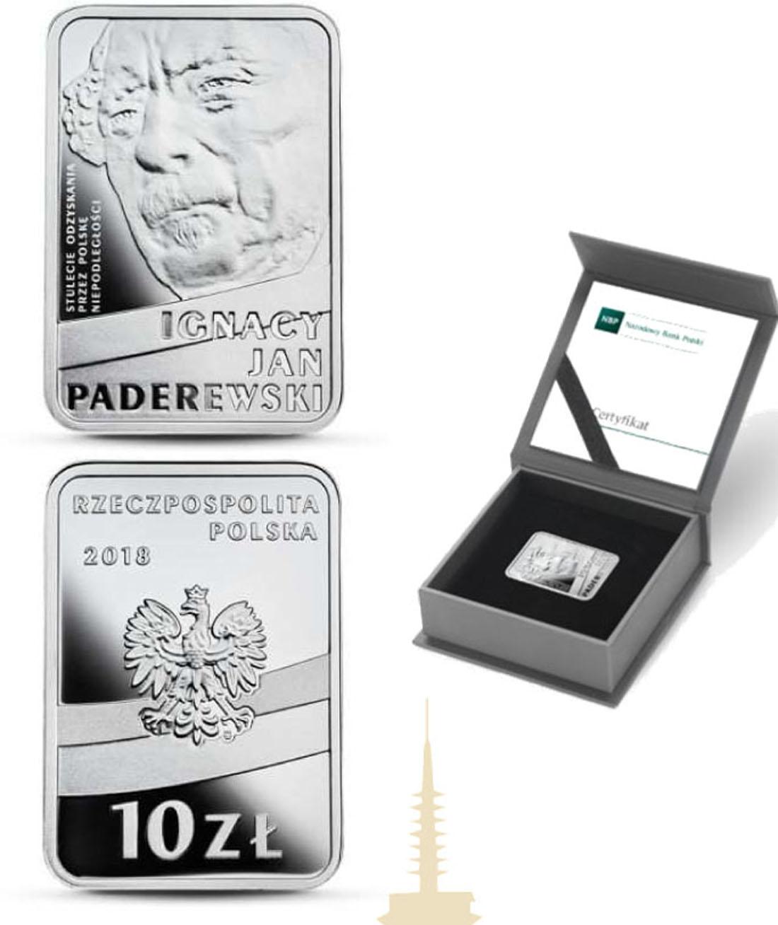 Übersicht:Polen : 10 Zloty 100 J. Unabhängigkeit - Ignacy Jan Paderewski  2018 PP