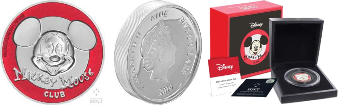 Lieferumfang:Niue : 5 Dollar Mickey Mouse Club - Ultra High Relief  2018 PP