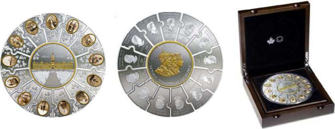 """Lieferumfang:Kanada : 310 Dollar Puzzle-Münze (14 Teile) """"Canadas Geschichte""""  2018 PP"""