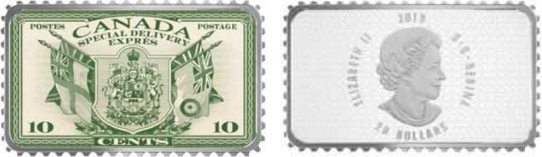 Übersicht:Kanada : 20 Dollar Wappen und Flaggen/Expressmarke-Hist. Briefmarken  2018 PP
