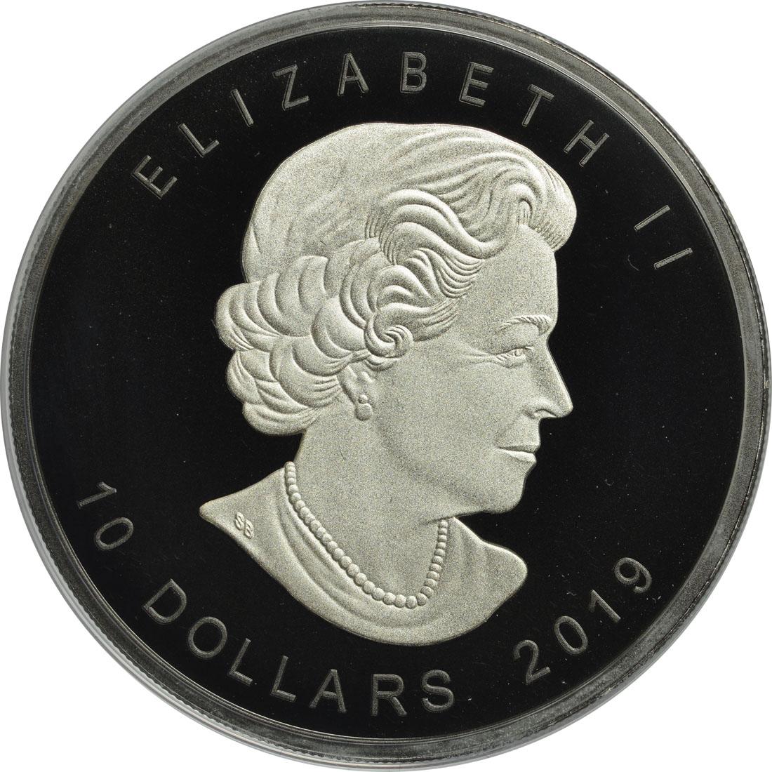 Rückseite:Kanada : 10 Dollar 30 Jahre Maple Leaf - mit schwarzem Rhodium 2 oz  2019 Stgl.