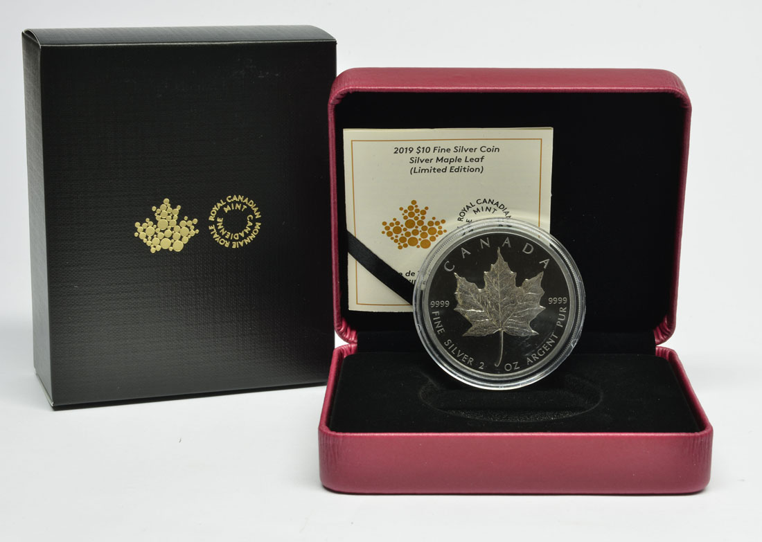 Lieferumfang:Kanada : 10 Dollar 30 Jahre Maple Leaf - mit schwarzem Rhodium 2 oz  2019 Stgl.