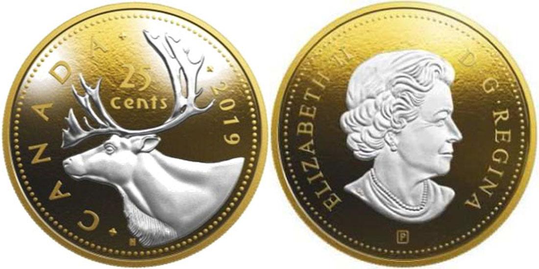 Übersicht:Kanada : 25 Cent Große Münzen - Karibu  2019 PP