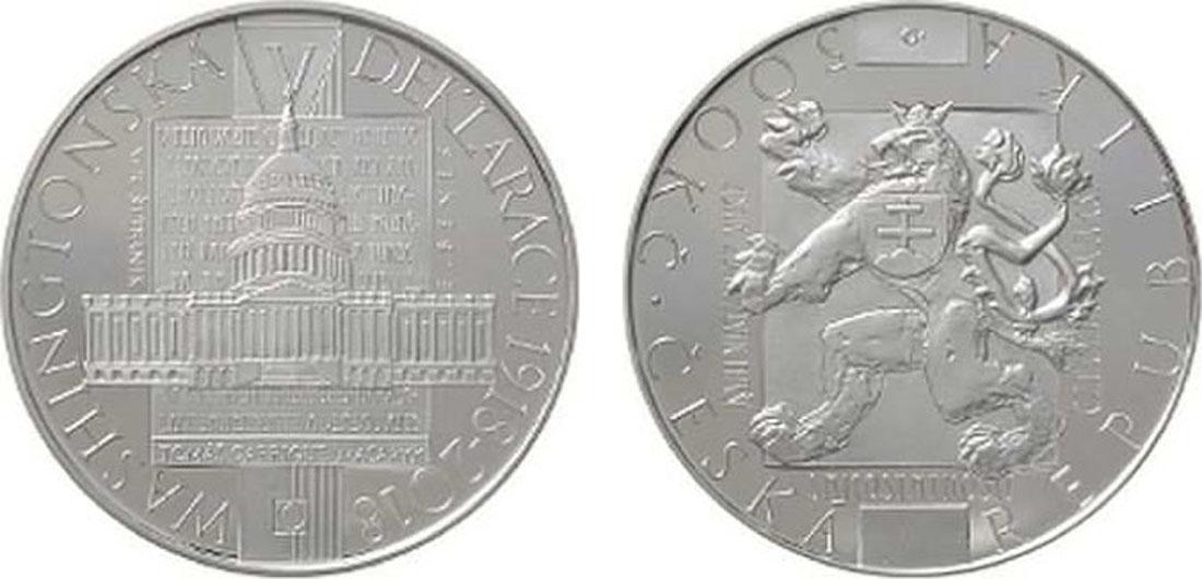 Übersicht:Tschechische Republik : 500 Kronen 100 Jahre Washingtoner Erklärung  2018 PP