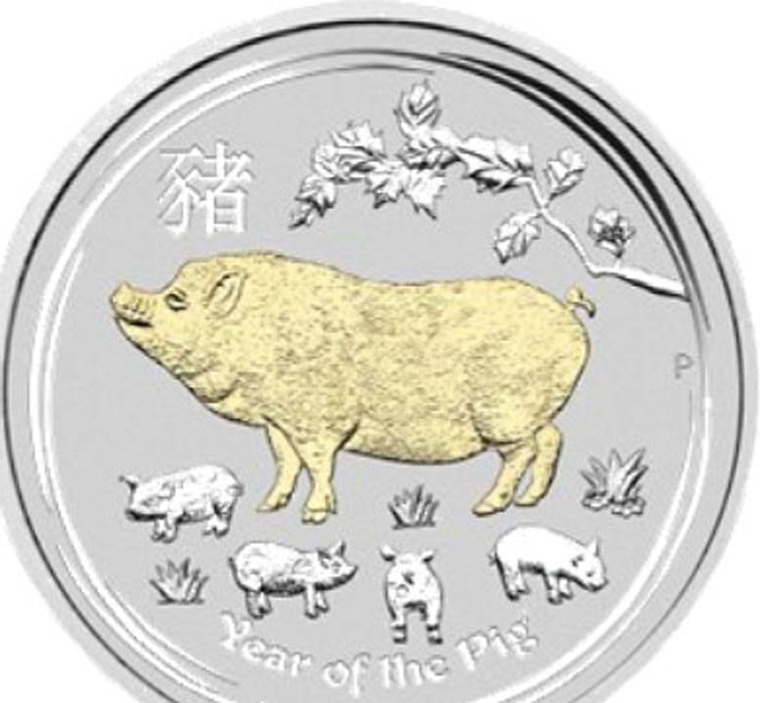 Übersicht:Australien : 1 Dollar Jahr des Schweins - vergoldet, in Kapsel  2019 Stgl.
