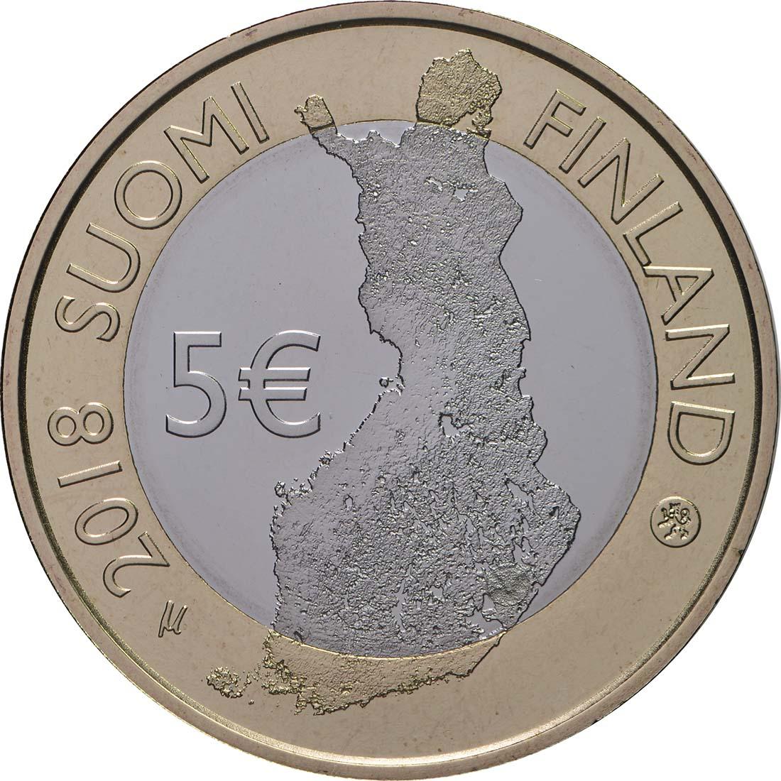 Rückseite:Finnland : 5 Euro Olavinlinna - Pihlajavesi  2018 PP