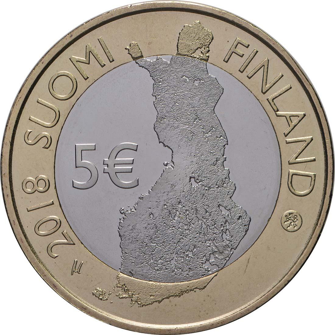 Rückseite:Finnland : 5 Euro Olavinlinna - Pihlajavesi  2018 bfr