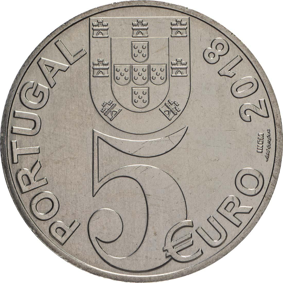 Rückseite:Portugal : 5 Euro 100 Jahre Waffenstillstand  2018 bfr