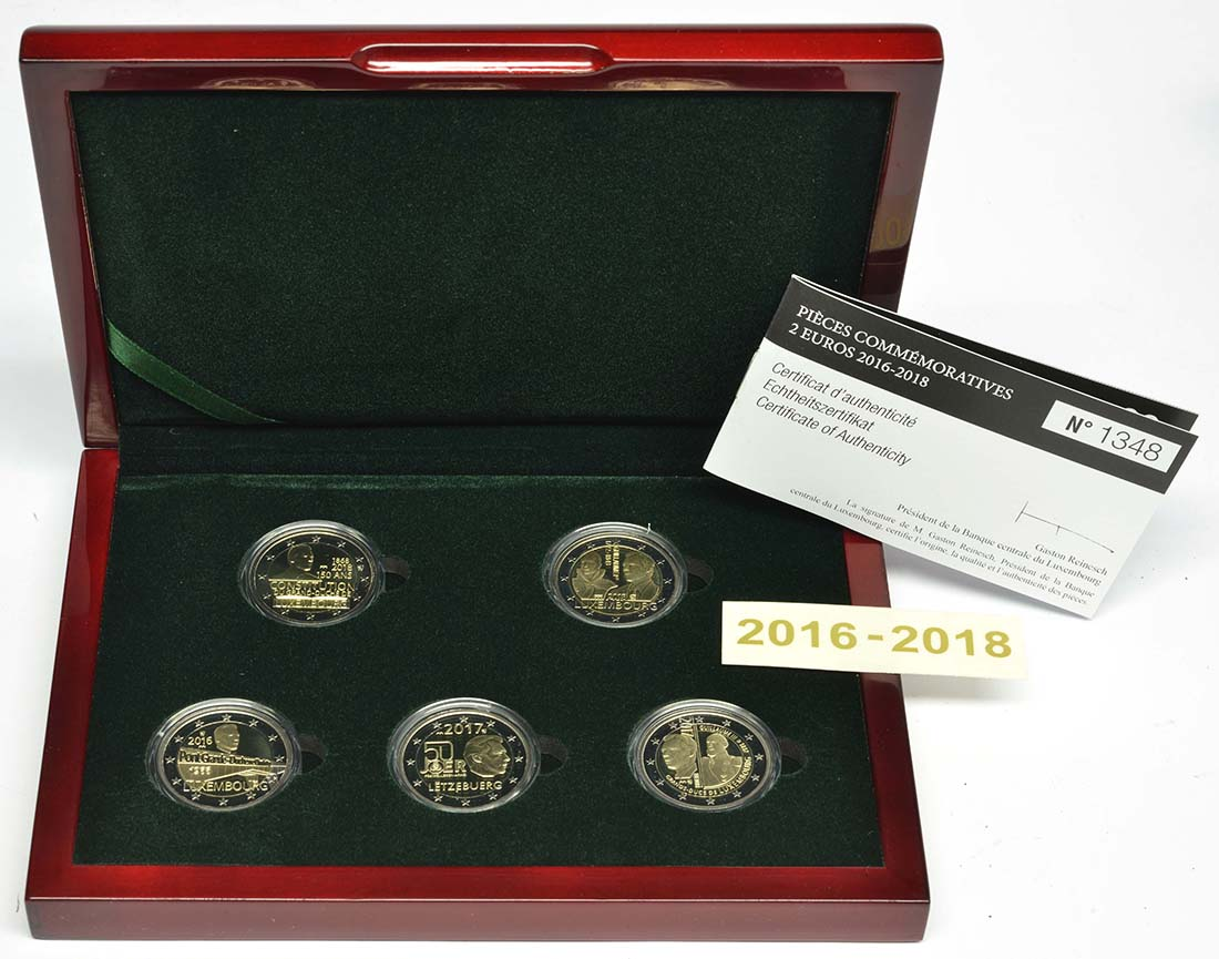 Lieferumfang:Luxemburg : 2 Euro 5x2 Euro Gedenkmünzen Set Charlotte-Brücke, Freiwilligenarmee, Guillaume III., Verfassung, Guillaume I. 2016-2018  2018 PP