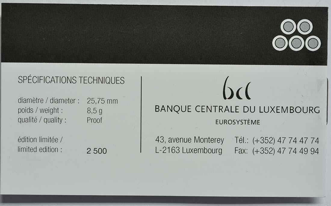 Zertifikat:Luxemburg : 2 Euro 5x2 Euro Gedenkmünzen Set Charlotte-Brücke, Freiwilligenarmee, Guillaume III., Verfassung, Guillaume I. 2016-2018  2018 PP