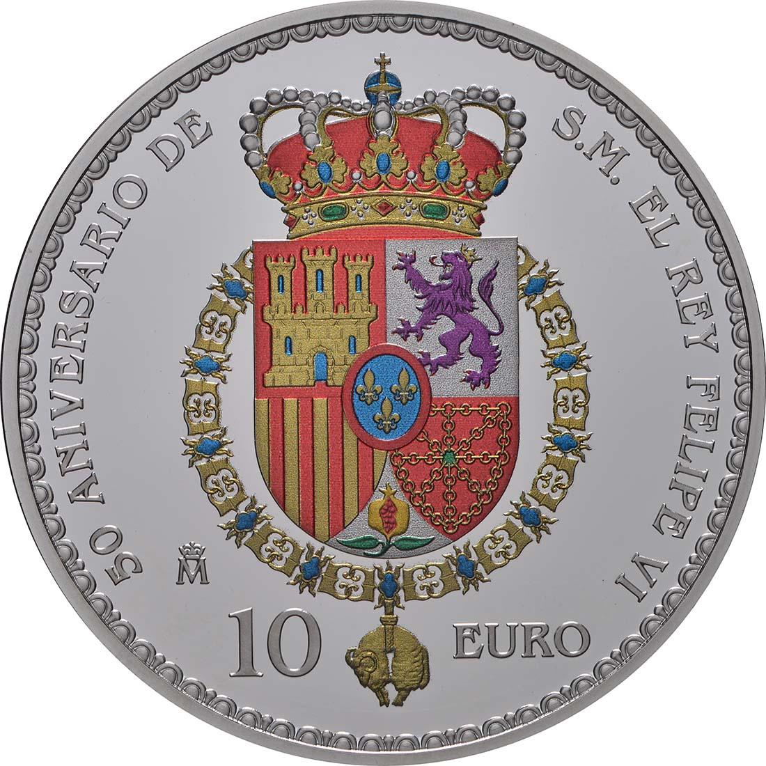 Rückseite:Spanien : 10 Euro Schwur am 18. Geburtstag, coloriert  2018 PP