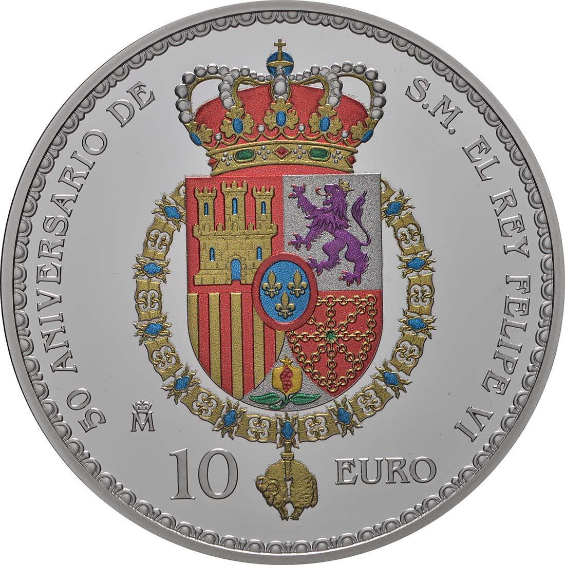 Rückseite:Spanien : 10 Euro Flagge Barcelona 1992, coloriert  2018 PP