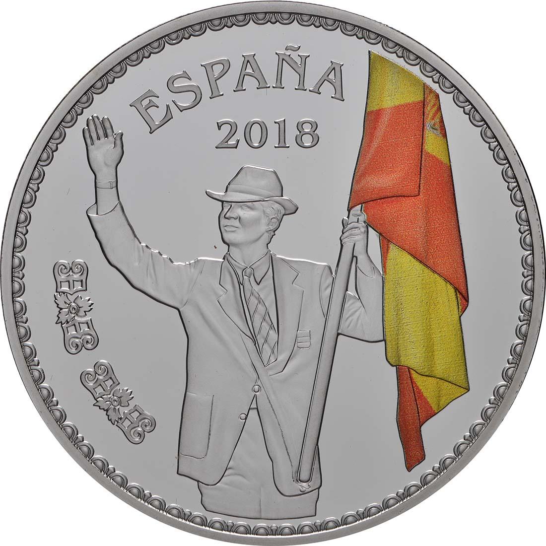 Vorderseite:Spanien : 10 Euro Flagge Barcelona 1992, coloriert  2018 PP