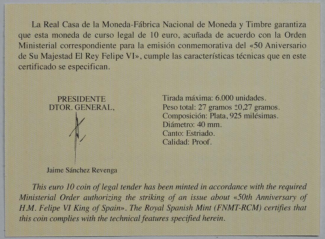 Zertifikat:Spanien : 10 Euro Hochzeit, coloriert  2018 PP