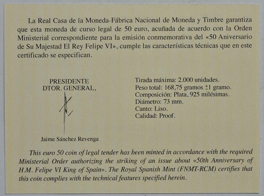 Zertifikat:Spanien : 50 Euro Königliche Familie  2018 PP