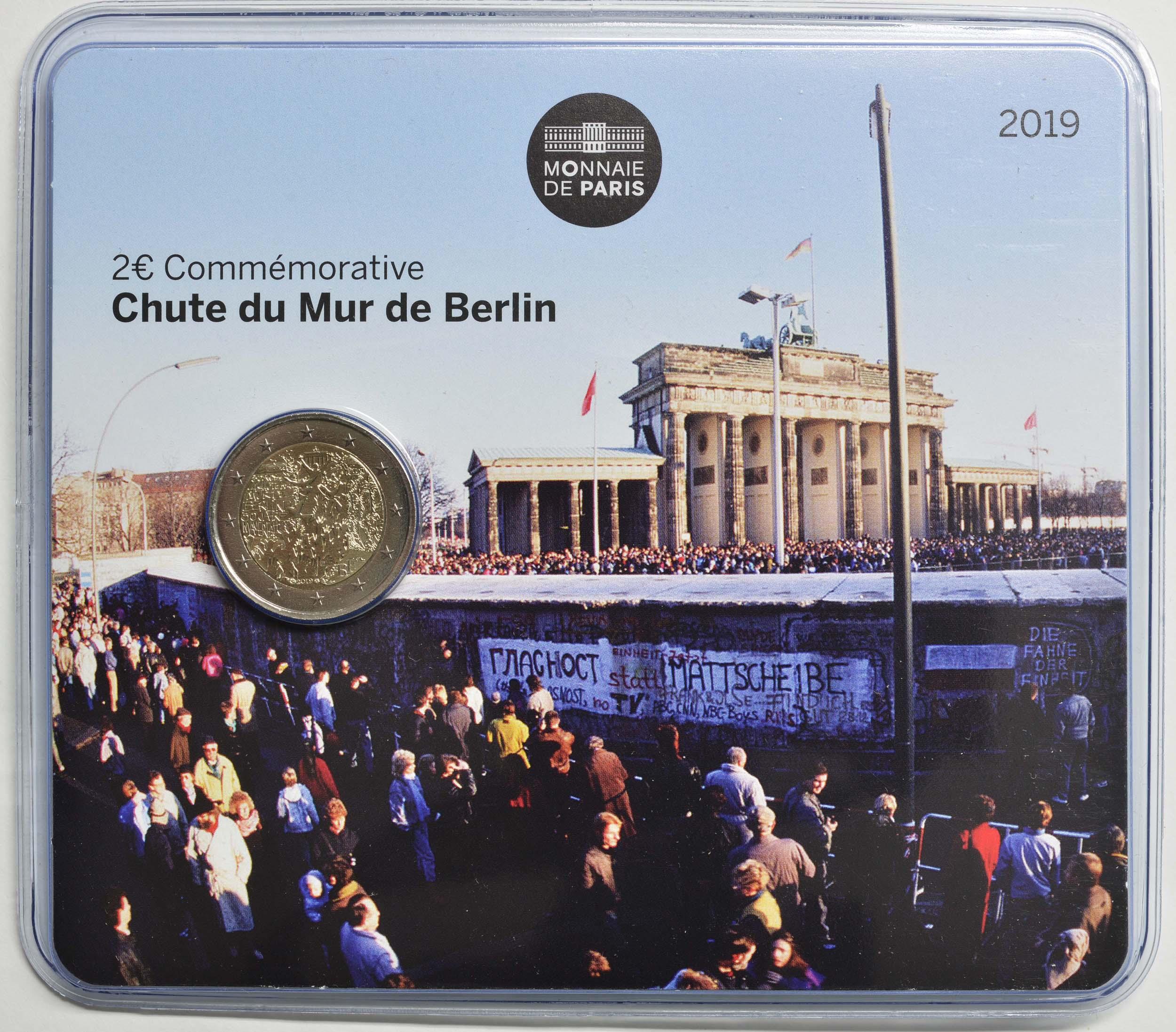 Lieferumfang:Frankreich : 2 Euro Mauerfall  2019 Stgl.