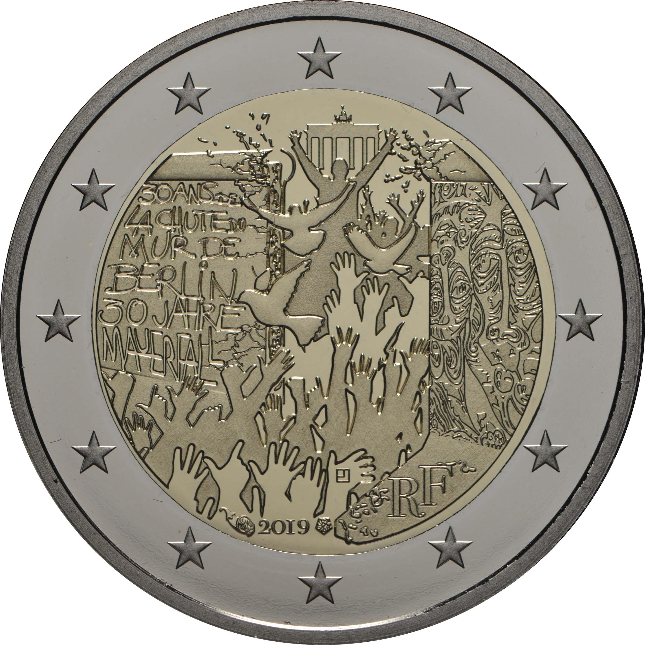 Rückseite:Frankreich : 2 Euro Mauerfall  2019 PP