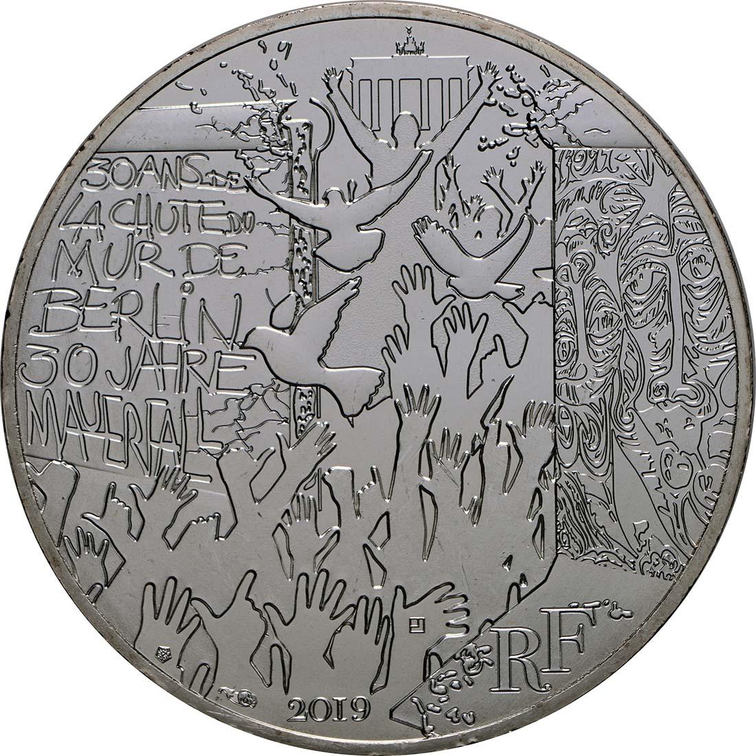 Vorderseite:Frankreich : 10 Euro Fall der Berliner Mauer  2019 bfr