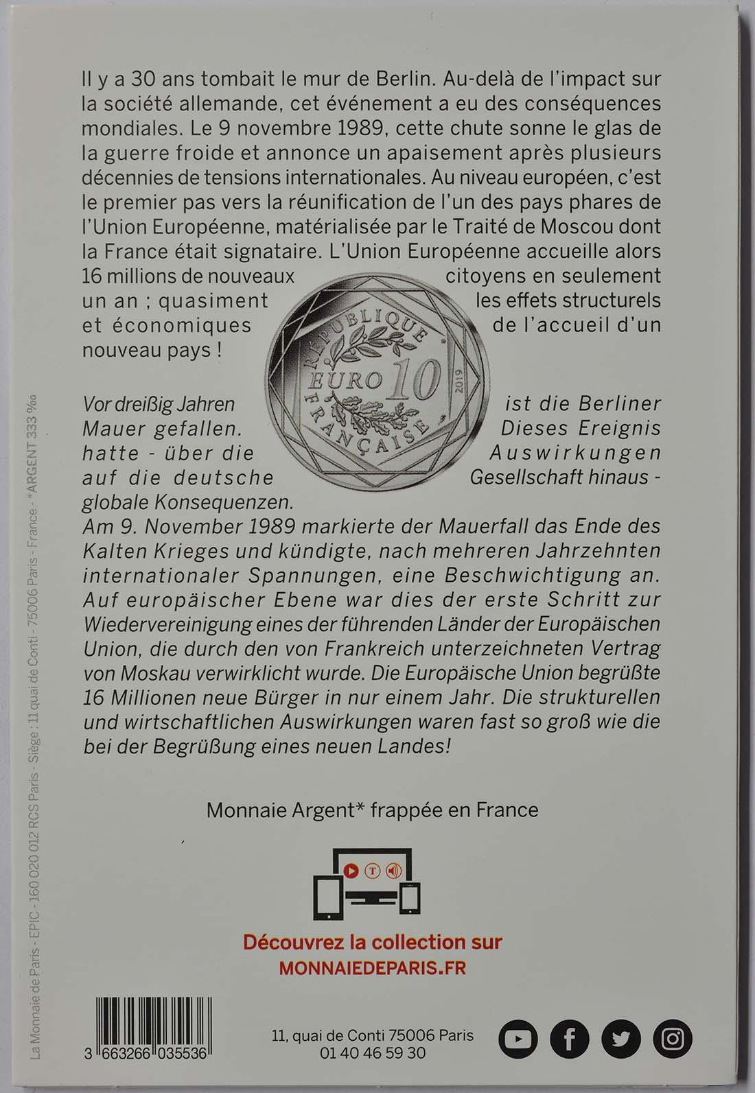 Zertifikat:Frankreich : 10 Euro Fall der Berliner Mauer  2019 bfr