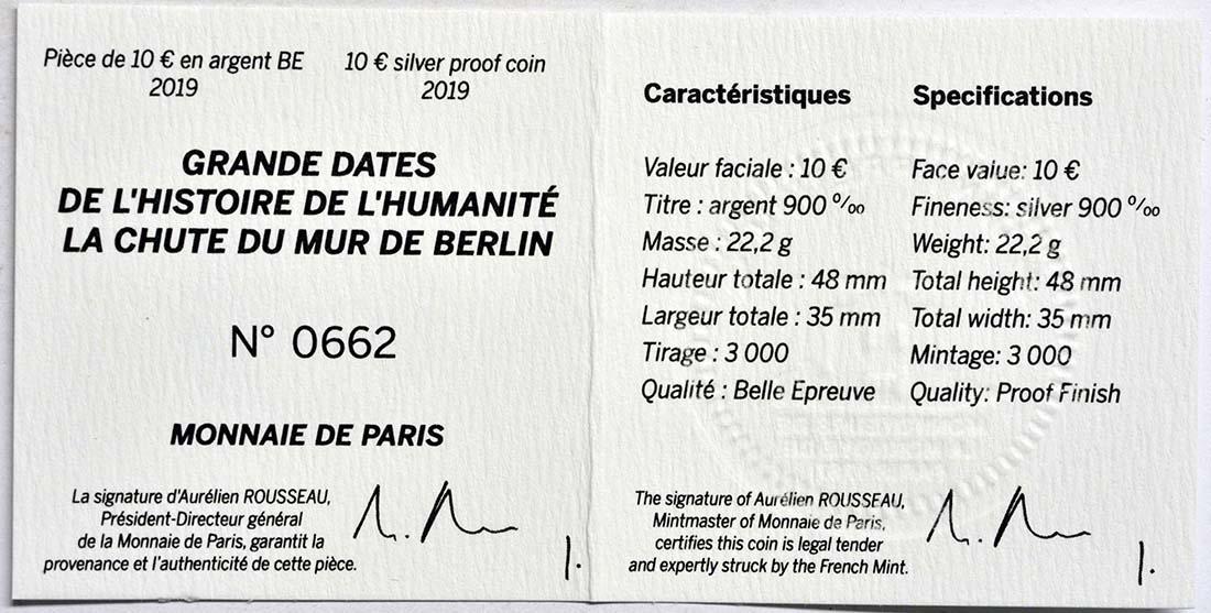 Zertifikat:Frankreich : 10 Euro Fall der Berliner Mauer  2019 PP