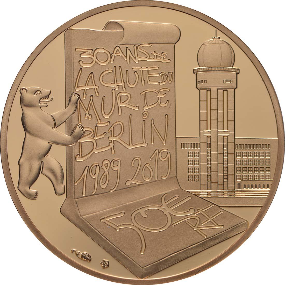 Rückseite:Frankreich : 50 Euro Fall der Berliner Mauer  2019 PP