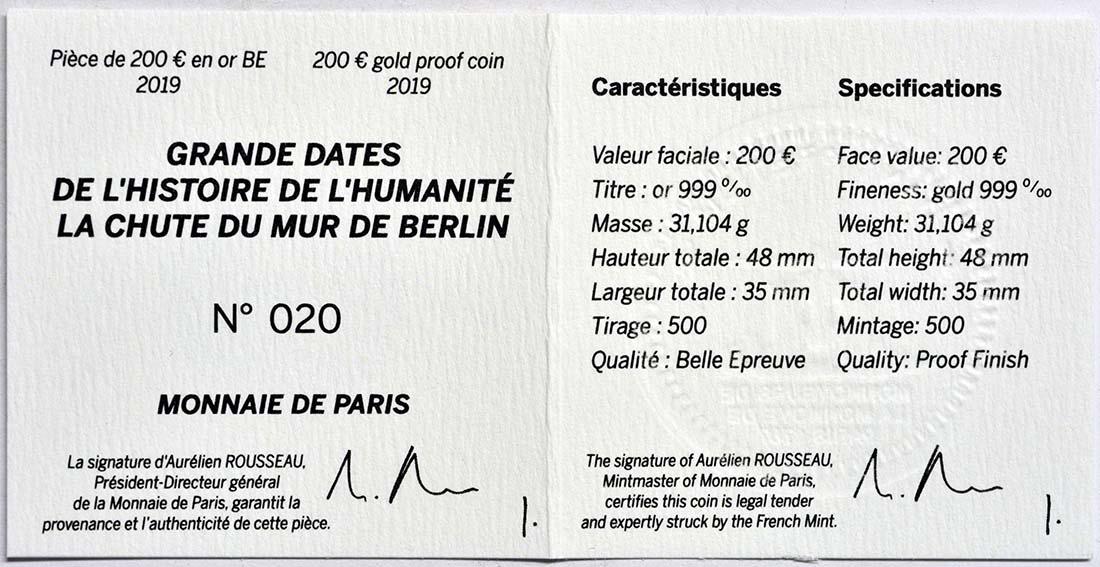Zertifikat:Frankreich : 200 Euro Fall der Berliner Mauer  2019 PP