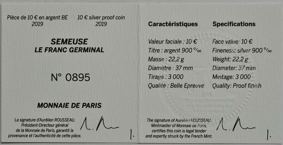 Zertifikat:Frankreich : 10 Euro Franc Germinal  2019 PP