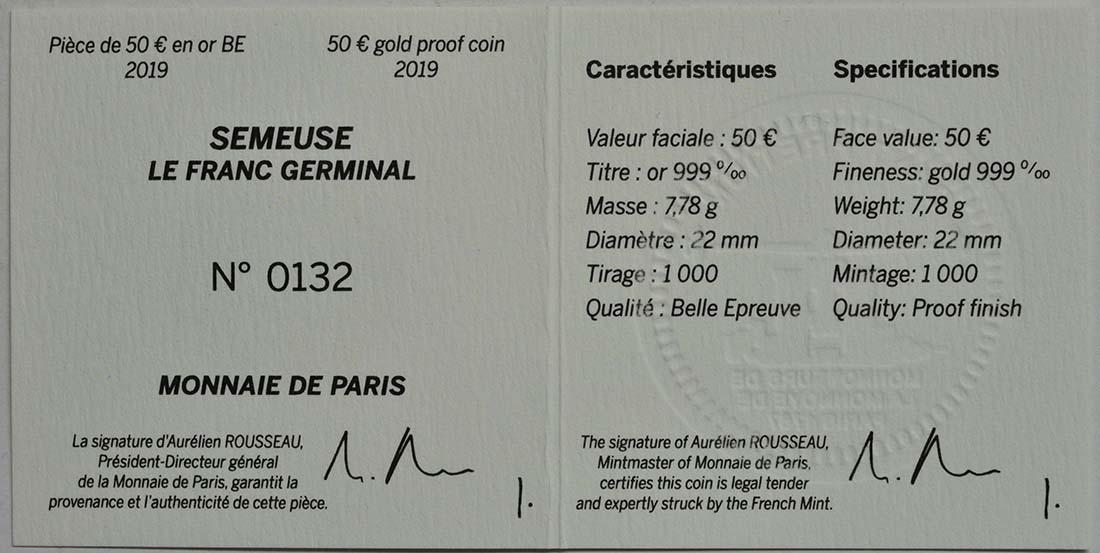 Zertifikat:Frankreich : 50 Euro Franc Germinal  2019 PP