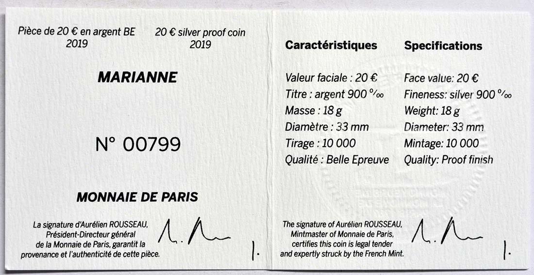 Zertifikat:Frankreich : 20 Euro Marianne  2019 PP