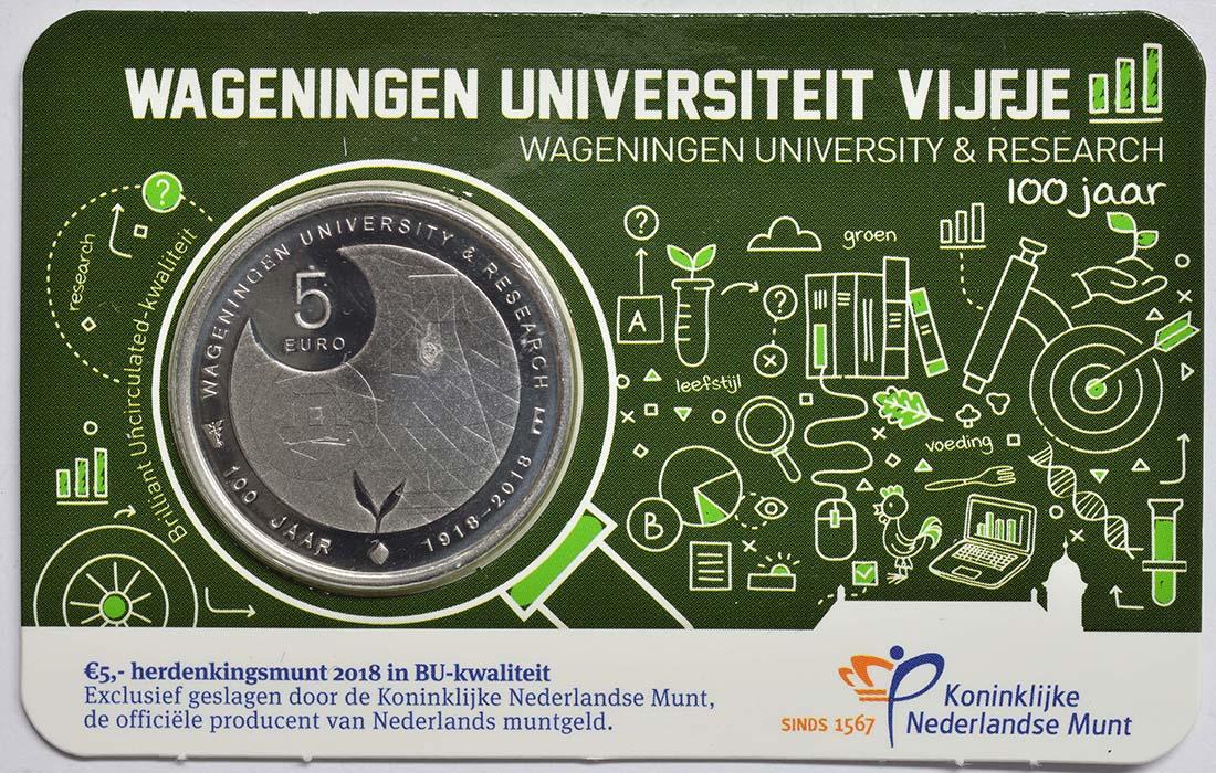 Lieferumfang:Niederlande : 5 Euro Uni Wageningen  2018 Stgl.