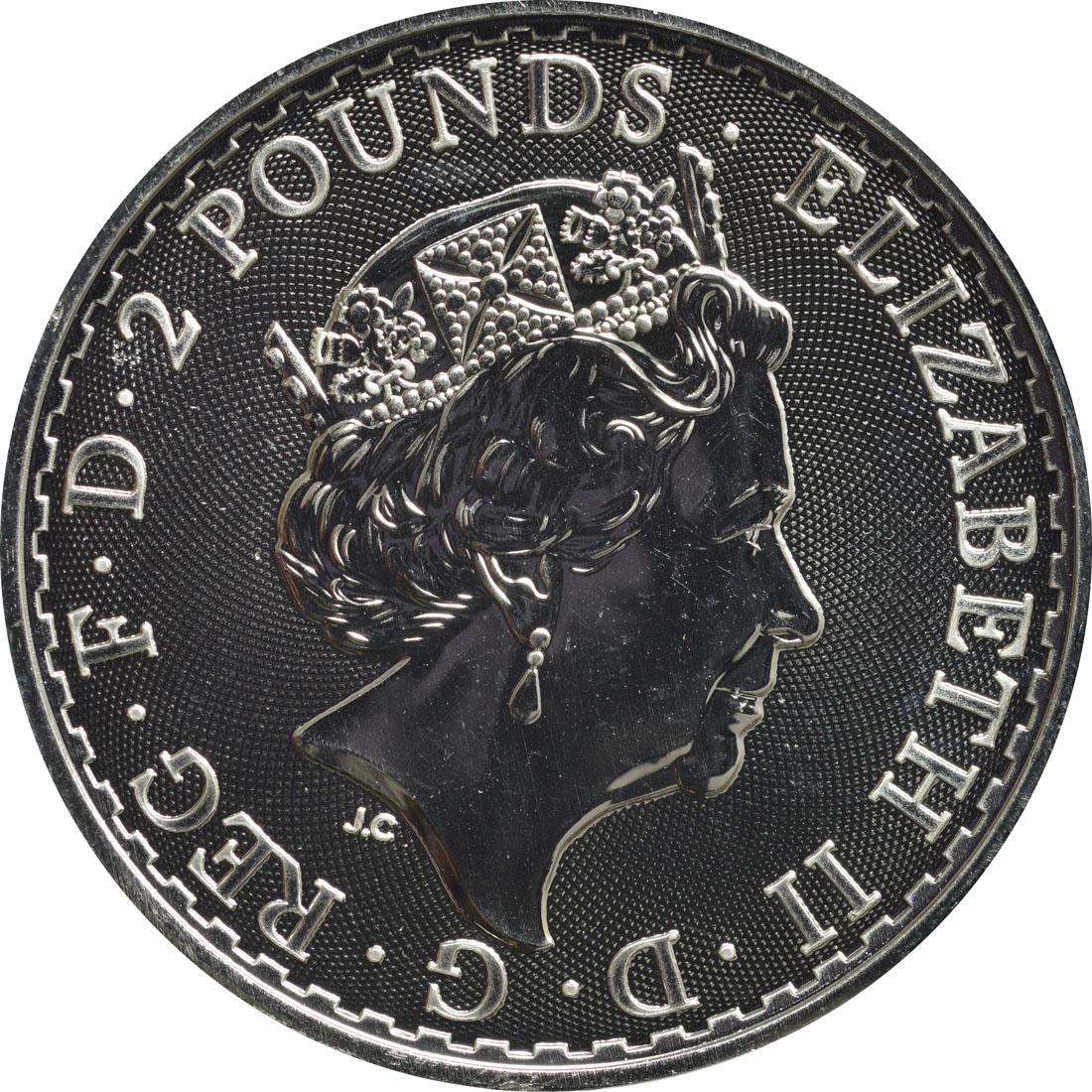 Rückseite:Großbritannien : 2 Pfund Britannia  2019 Stgl.