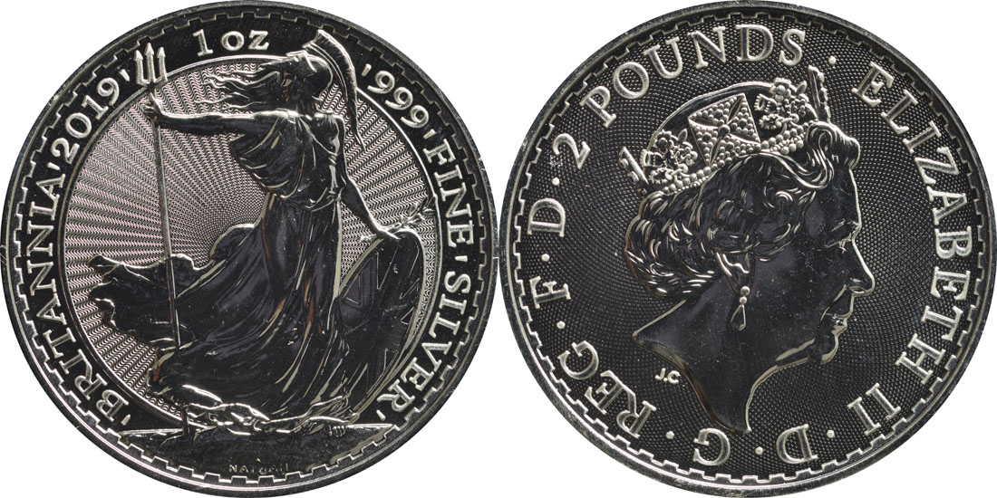 Lieferumfang:Großbritannien : 2 Pfund Britannia  2019 Stgl.