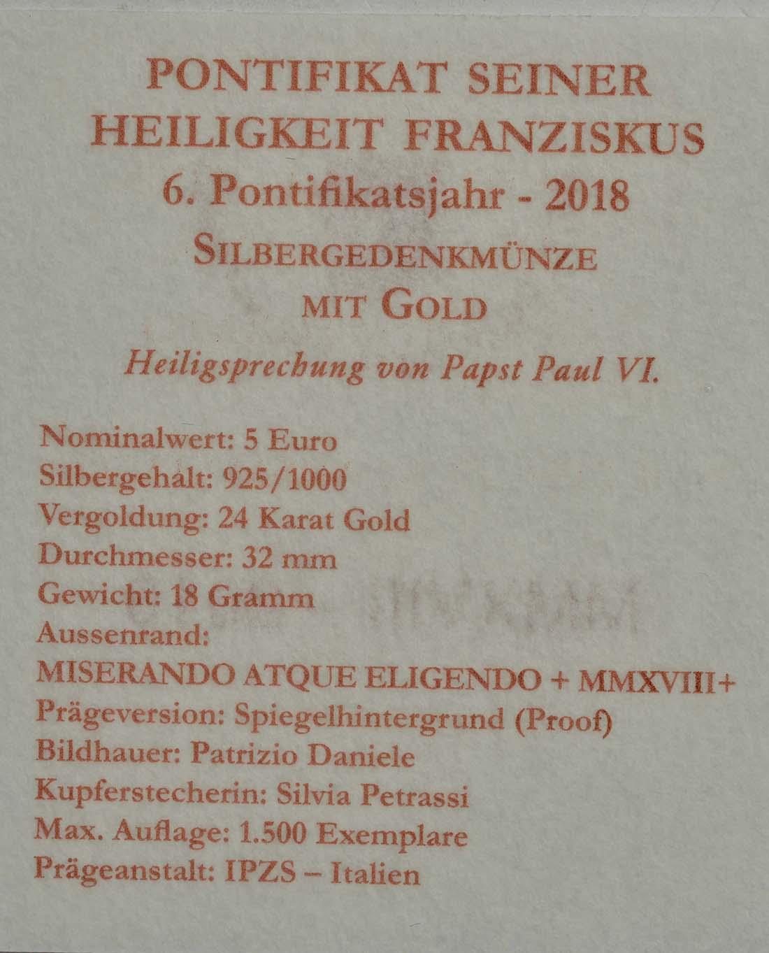 Zertifikat:Vatikan : 5 Euro Heiligsprechung Papst Paul VI., vergoldet  2018 PP