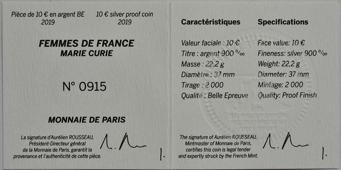 Zertifikat:Frankreich : 10 Euro Marie Curie  2019 PP