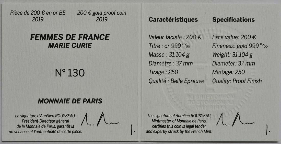 Zertifikat:Frankreich : 200 Euro Marie Curie  2019 PP