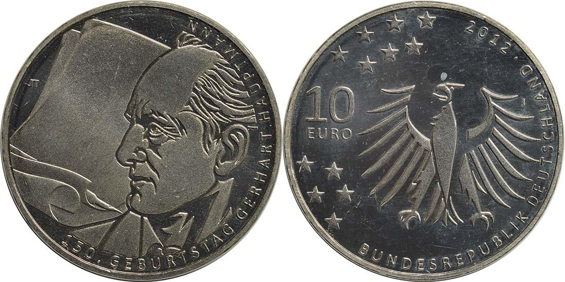 Lieferumfang:Deutschland : 10 Euro Gerhart Hauptmann  2012 ss/vz.