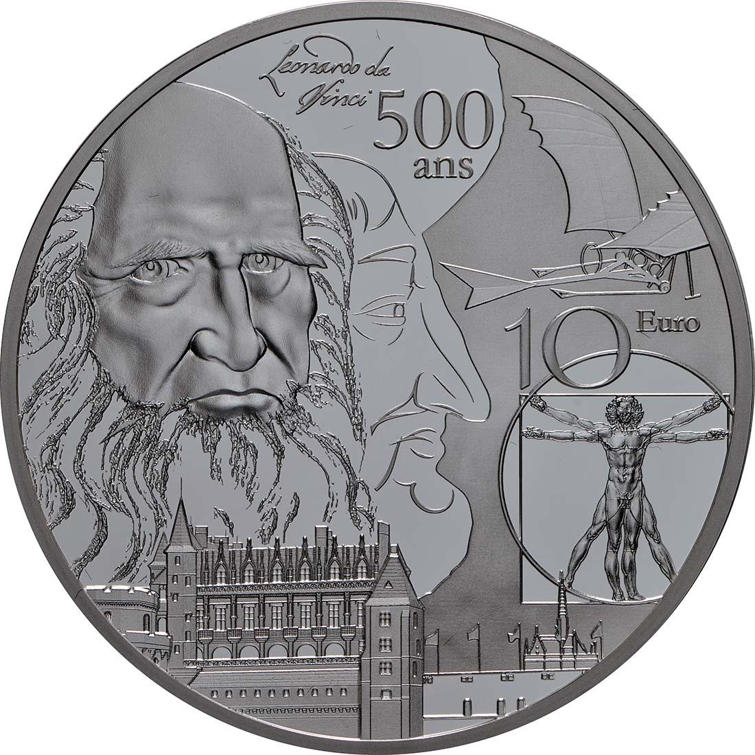 Vorderseite:Frankreich : 10 Euro Renaissance - Da Vinci  2019 PP