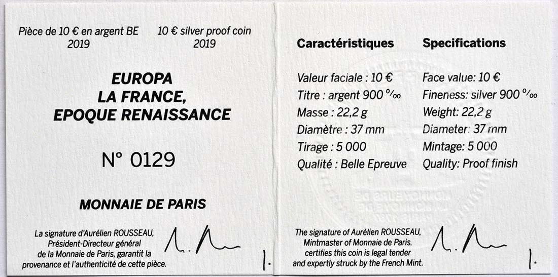 Zertifikat:Frankreich : 10 Euro Renaissance - Da Vinci  2019 PP