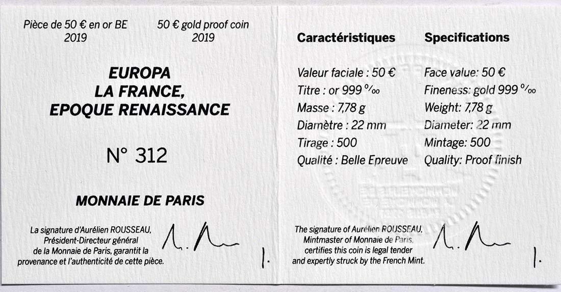 Zertifikat:Frankreich : 50 Euro Renaissance - Da Vinci  2019 PP