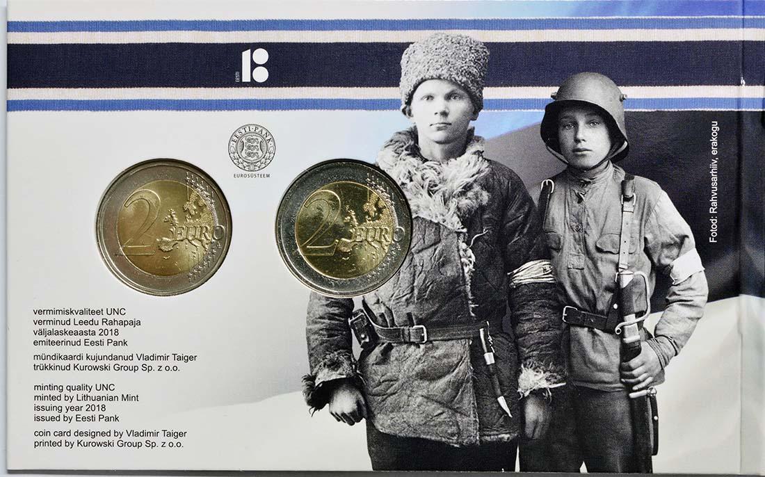 Zertifikat:Estland : 4 Euro 1x2 Euro Gedenkmünze 100 Jahre Republik Estland, 1x2 Euro Kursmünze  2018 Stgl.